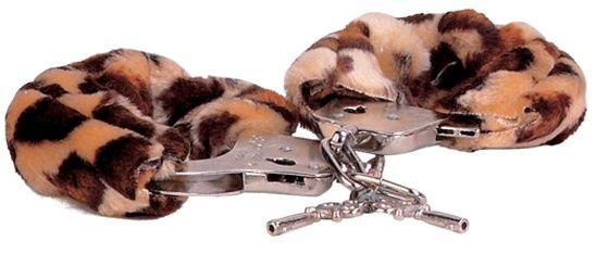 Металлические наручники, обшитые леопардовым мехом - фото 128510
