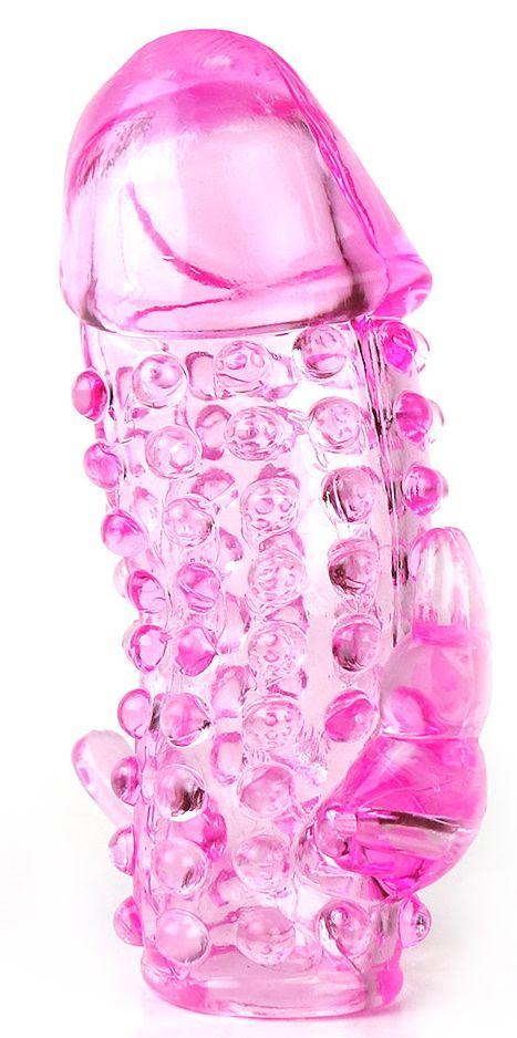 Розовая насадка со стимуляторами ануса и клитора
