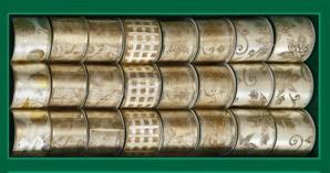 Лента для декорирования кремово-золотая с узором