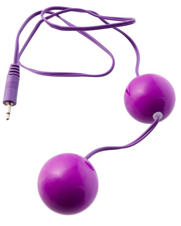 Фиолетовые вагинальные шарики с вибрацией - фото 129971