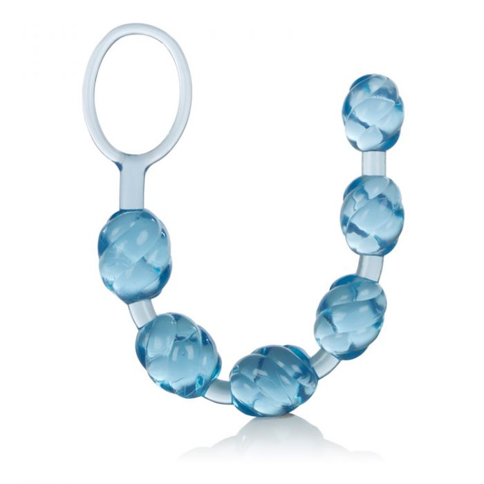Голубая анальная цепочка Swirl Pleasure Beads - 20 см. - фото 130268