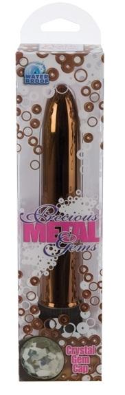 Бронзовый классический вибратор с кристаллом PRECIOUS GEMS