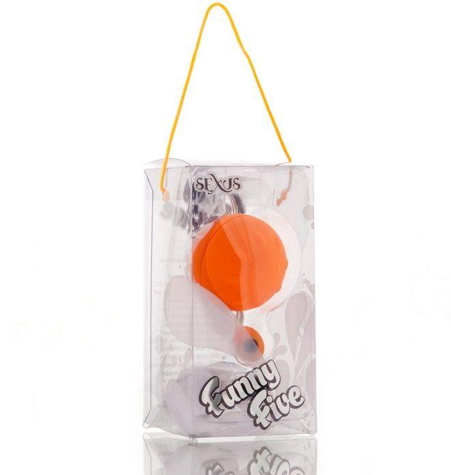 Оранжевый виброшарик с выносным пультом-кнопкой - фото 130331
