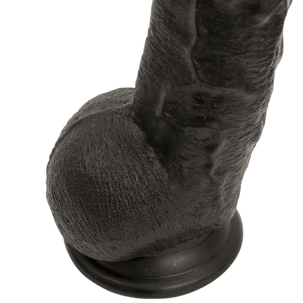 Черный длинный фаллоимитатор с мошонкой Dick Rambone Cock - 42,4 см. - фото 128576