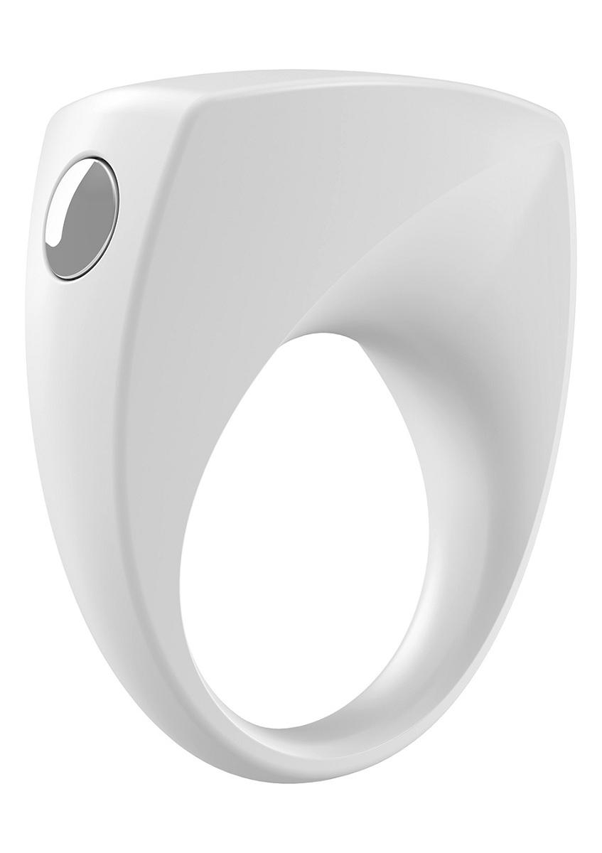 Белое эрекционное кольцо B6 с вибрацией