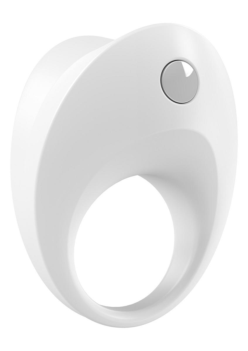 Белое эрекционное кольцо B10 с вибрацией