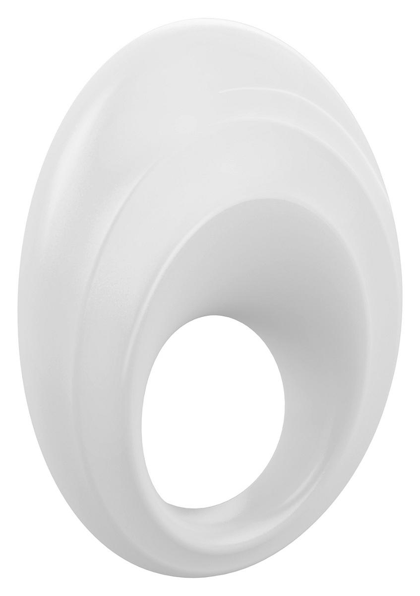 Белое эрекционное кольцо B5 с вибрацией