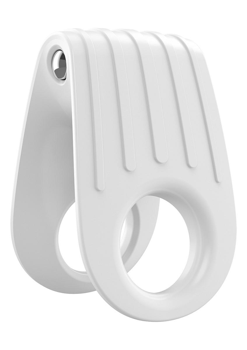 Двойное белое эрекционное кольцо с вибрацией