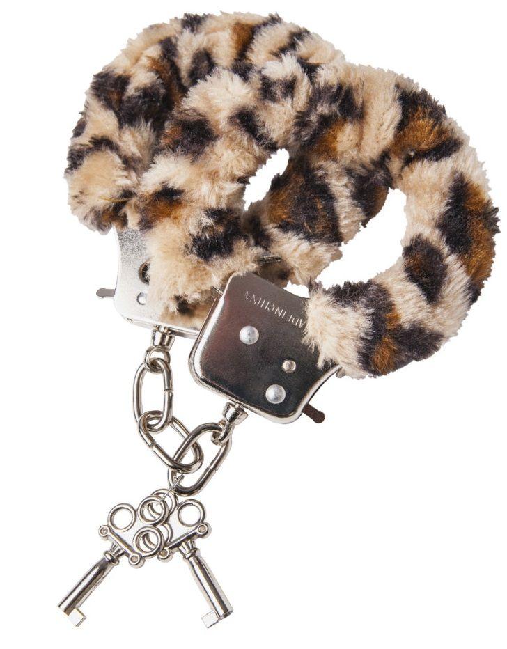 Наручники с леопардовым принтом на опушке - фото 131350