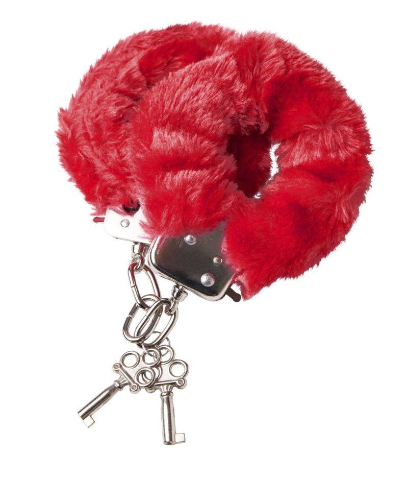 Наручники с красной меховой опушкой