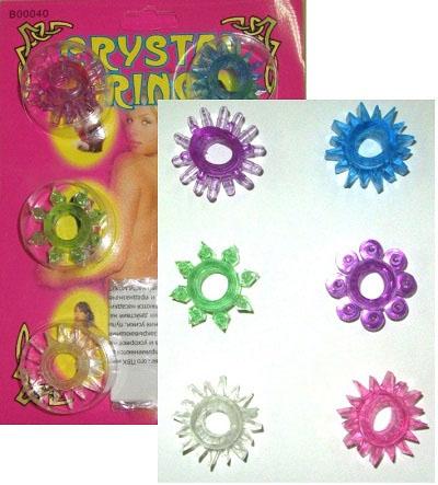 Набор из шести разноцветных эрекционных колец