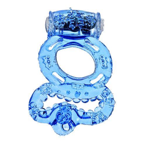 Голубое эрекционное кольцо с вибратором и подхватыванием мошонки - фото 131507