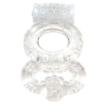 Прозрачное эрекционное кольцо с вибрацией Climax Gems Crystal Ring - фото 131588