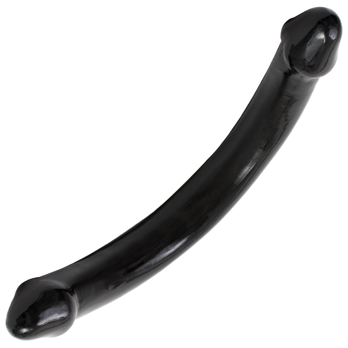 Черный двухголовый фаллоимитатор - 65 см.