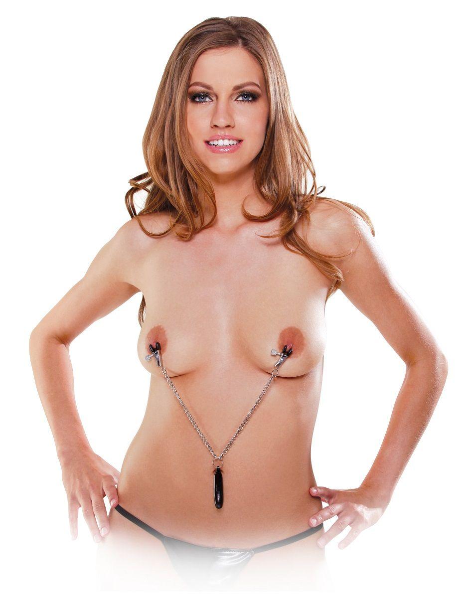 Клипсы для сосков, соединенные цепочкой с грузиком, Heavyweight Nipple Clamps - фото 131716