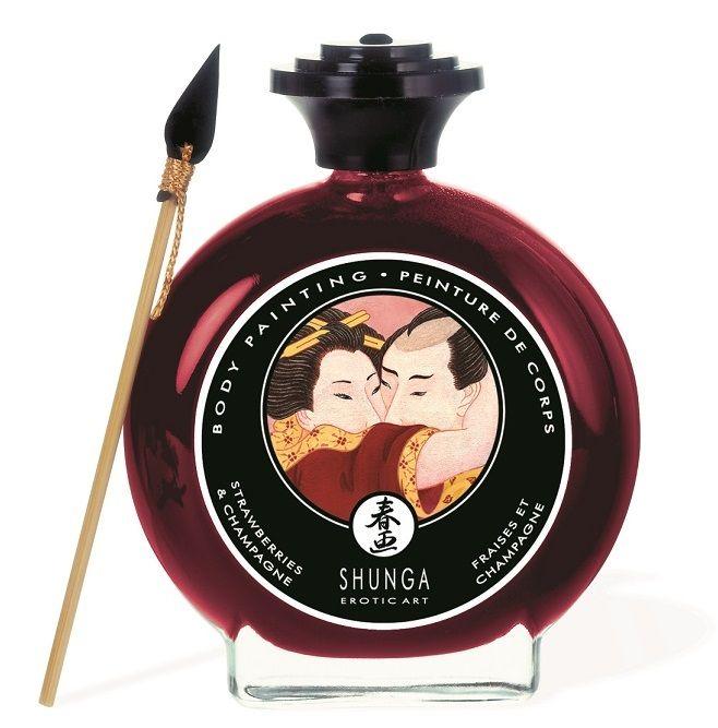 Декоративная крем-краска для тела с ароматом шампанского и клубники 7002 от Shunga