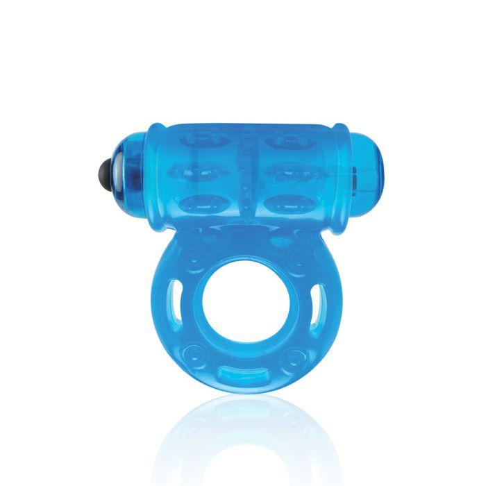 Голубое мощное виброкольцо со стимуляцией клитора