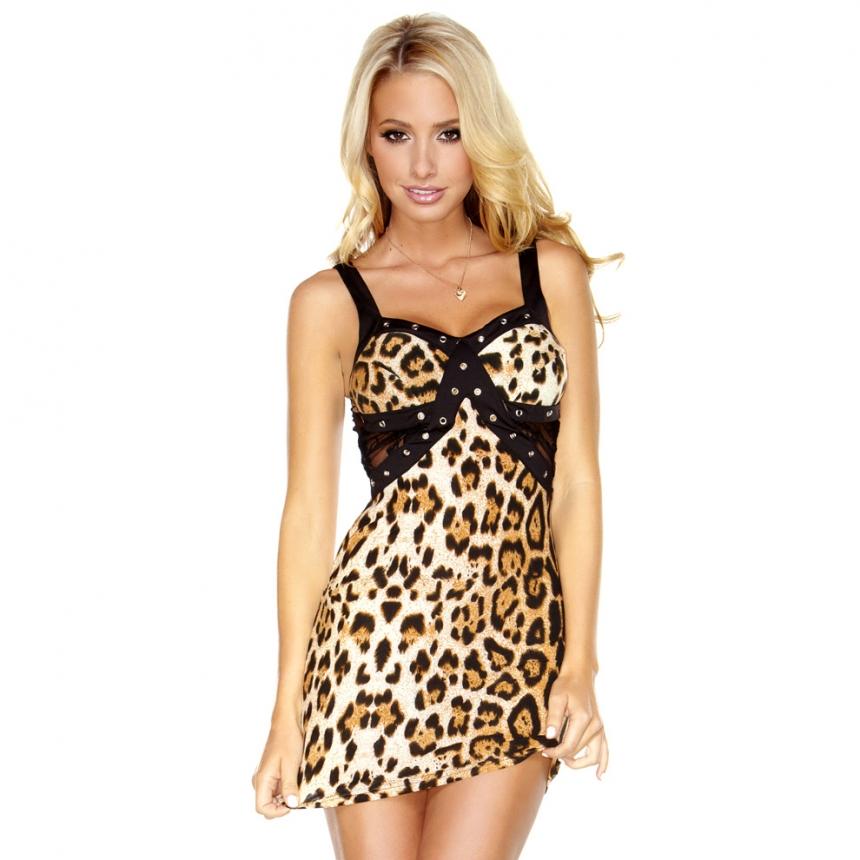 Комбинированное платье под золотого леопрда