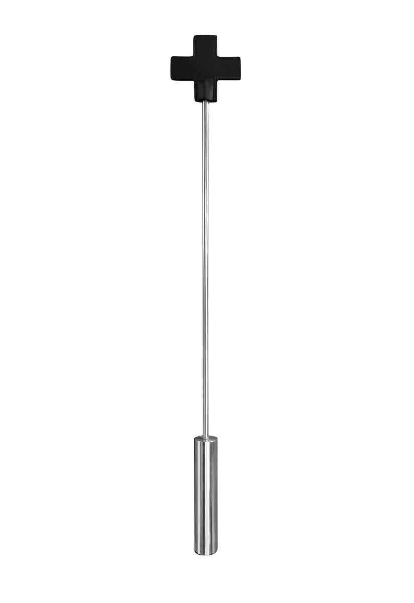 Чёрная шлёпалка Leather  Cross Tiped Crop с наконечником-крестом - 56 см.