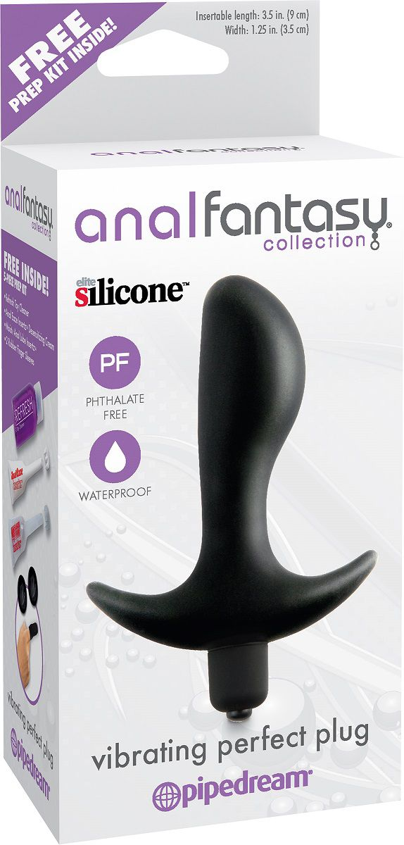 Чёрная анальная вибропробка с широким основанием Vibrating Perfect Plug - 12,5 см.
