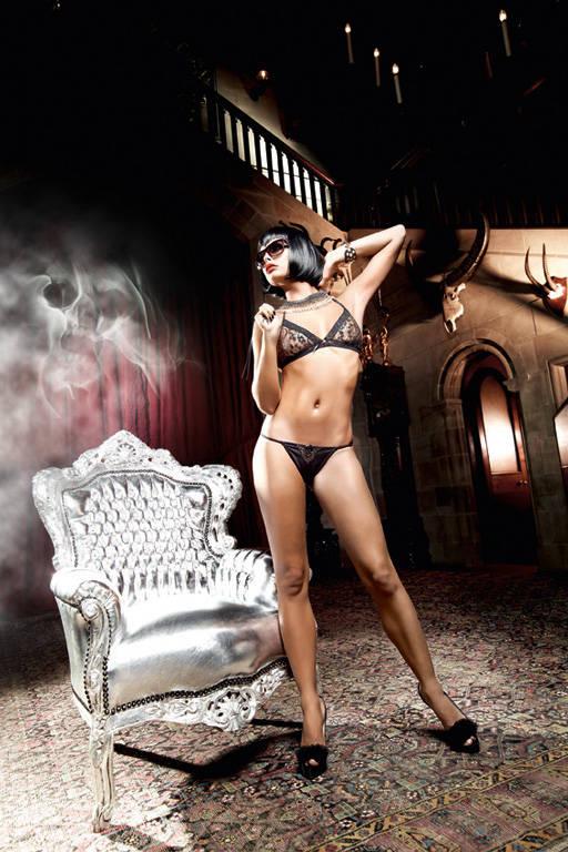 Золотисто-черный кружевной комплект-бикини Deeper in Hell