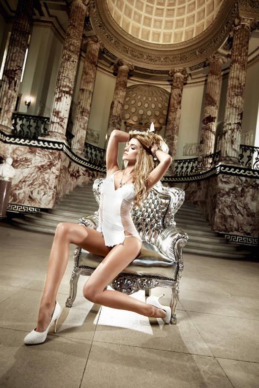 Белое платьице из тюлевой ткани в точечку с матовым передом Back in Heaven