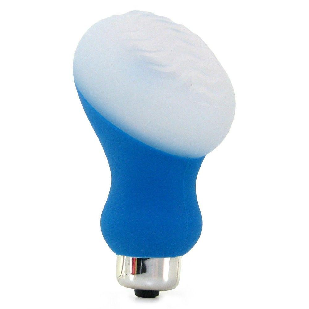Голубой мини-вибратор Posh Silicone Ice Massager Wave со съемной насадкой для заморозки