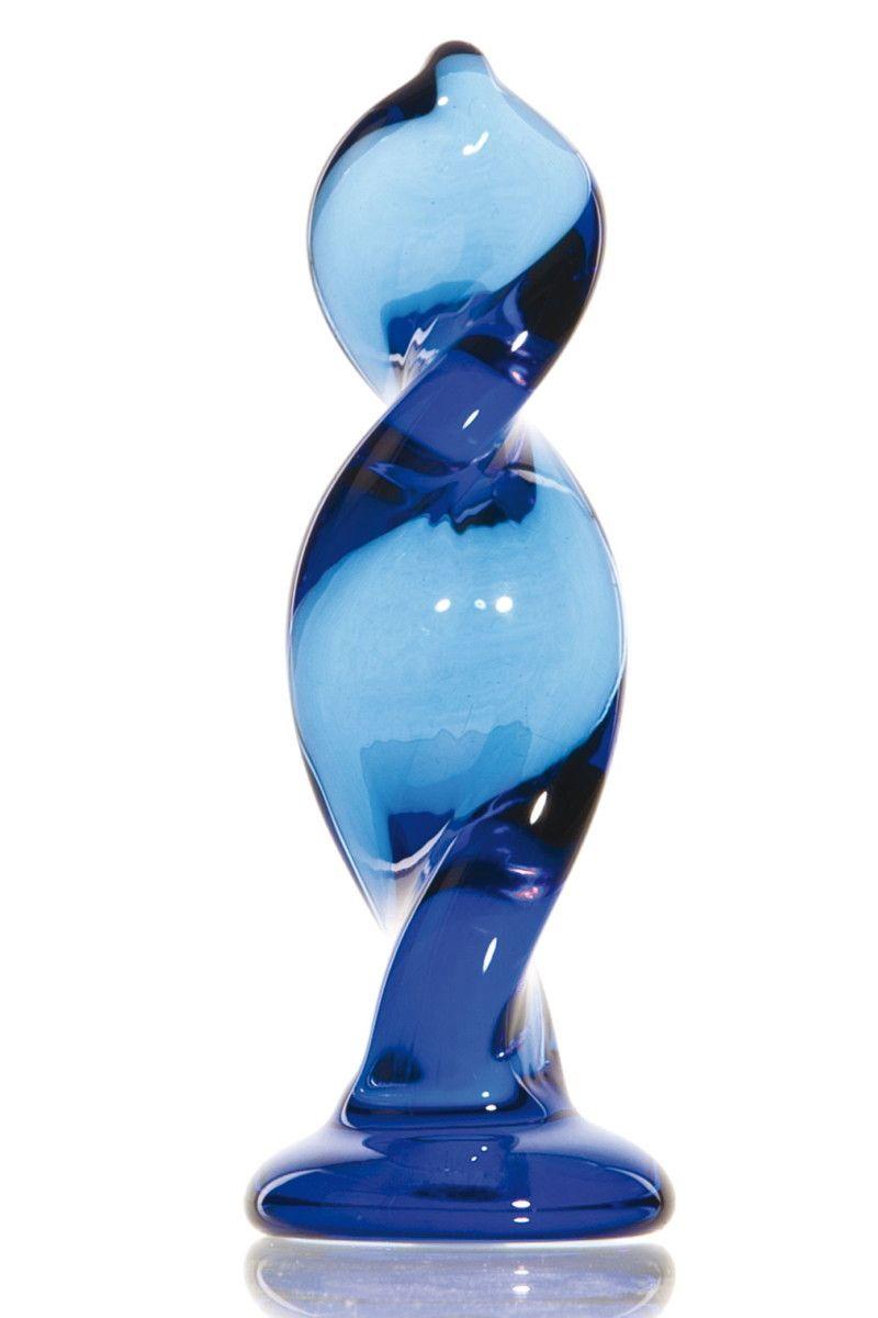 Синий стимулятор-спираль из стекла - 12,5 см.