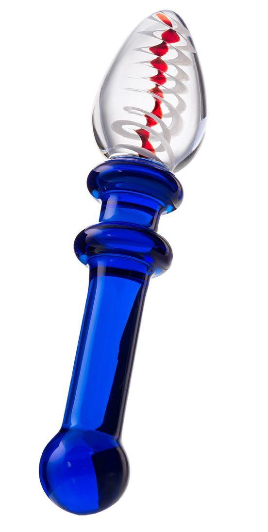 Стеклянный фаллоимитатор с синей ручкой - 16 см.
