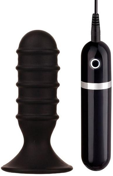 Чёрная анальная вибропробка с рёбрышками - 10 см. 20723 от Dream Toys