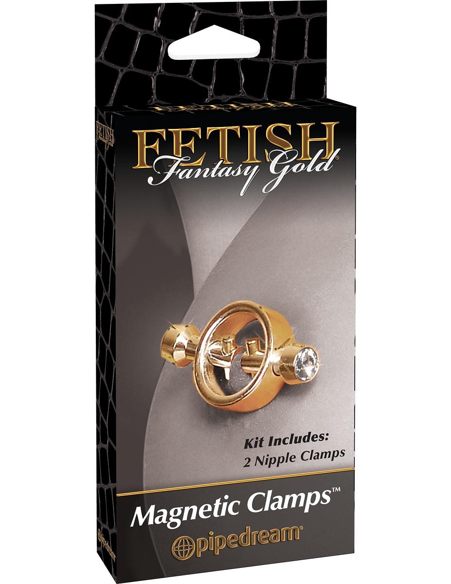 Золотистые зажимы на соски на магните Magnetic Clamps - фото 134269
