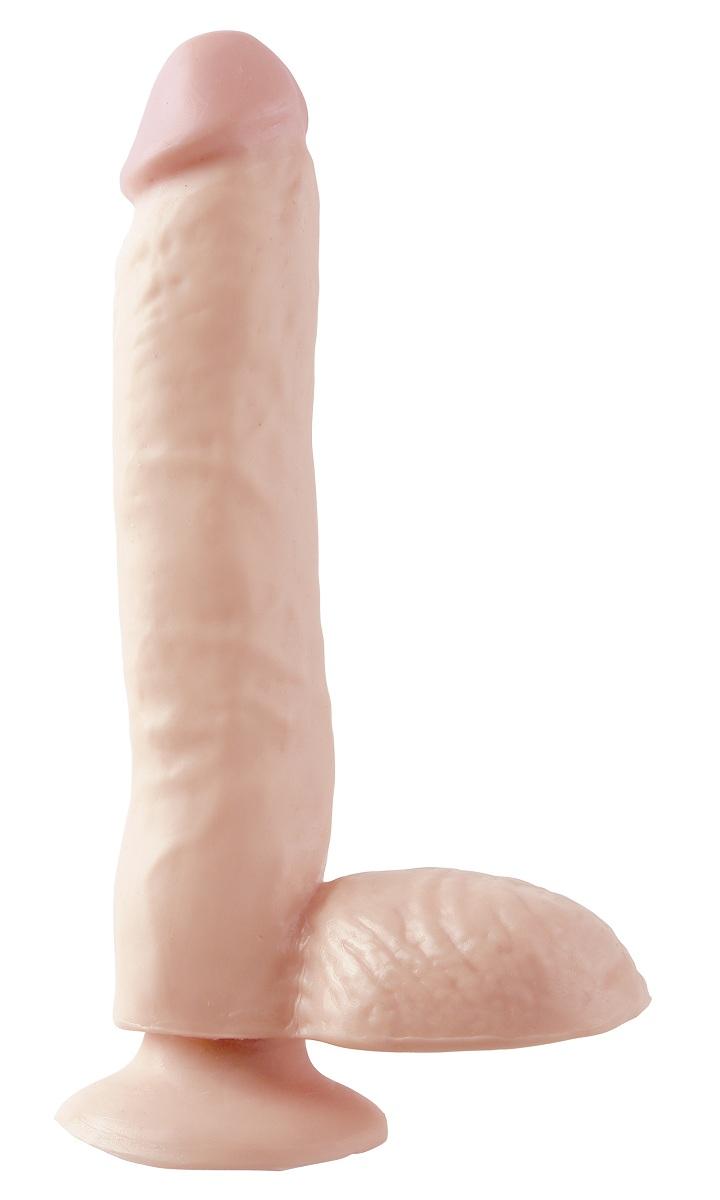 Фаллоимитатор с мошонкой Basix Rubber Works - 24,8 см.