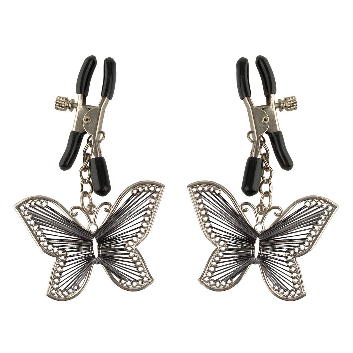 Зажимы на соски с бабочками Butterfly Nipple Clamps - фото 134471