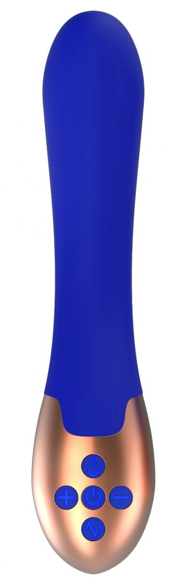 Синий вибратор Posh с функцией нагрева - 20 см. ELE001BLU от Shots Media BV