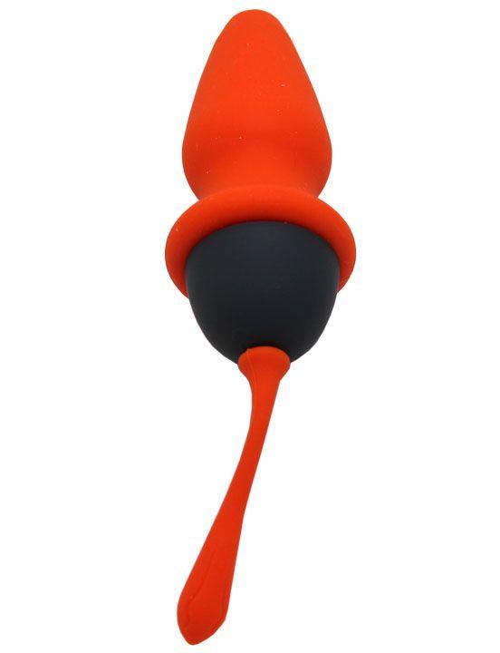 Оранжево-черная анальная пробка - 8 см.