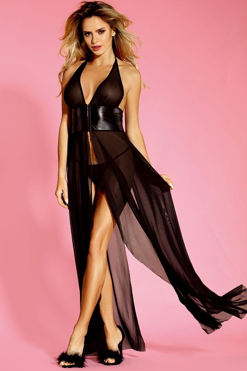 Длинное полупрозрачное платье с поясом под грудью - фото 178994