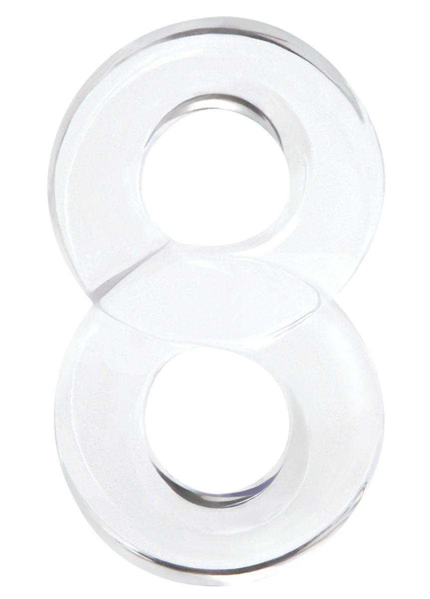 Прозрачное эрекционное кольцо с подхватом мошонки Lucky 8