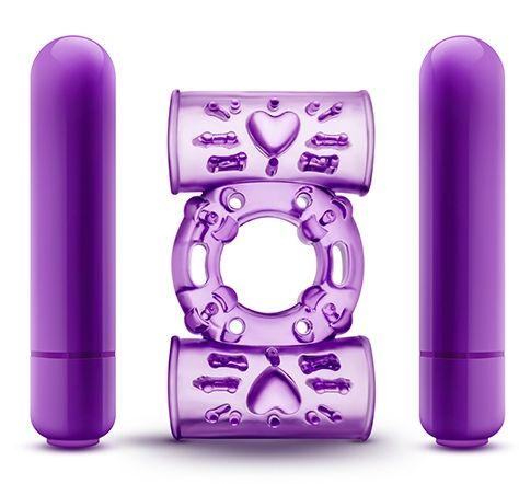 Фиолетовое эрекционное виброкольцо Double Play