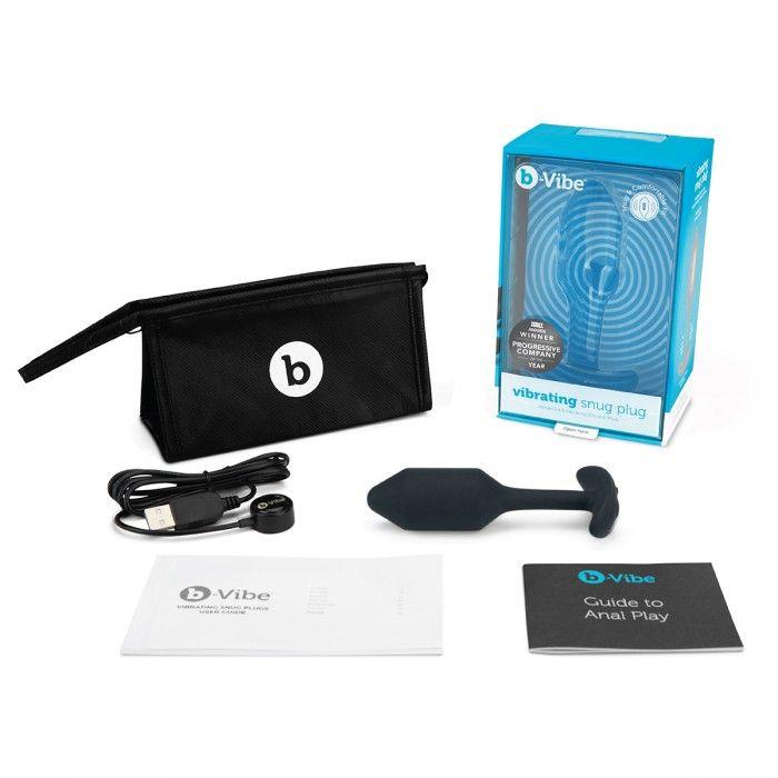 Чёрная пробка для ношения с вибрацией Snug Plug 2 - 11,4 см.