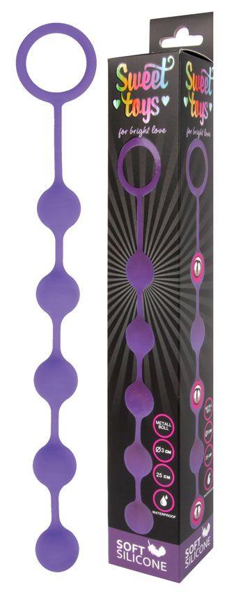 Фиолетовая анальная цепочка с металлическими шариками - 25 см.