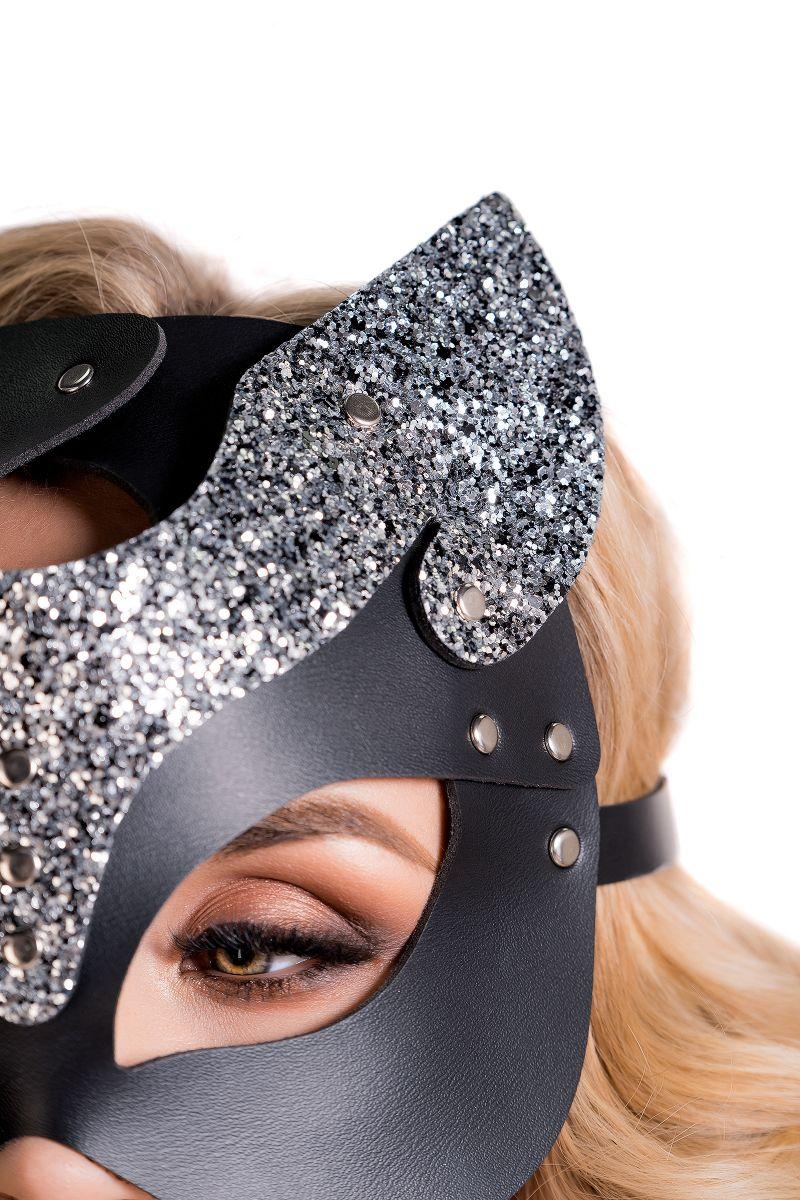 Черная кожаная маска кошечки Cattie