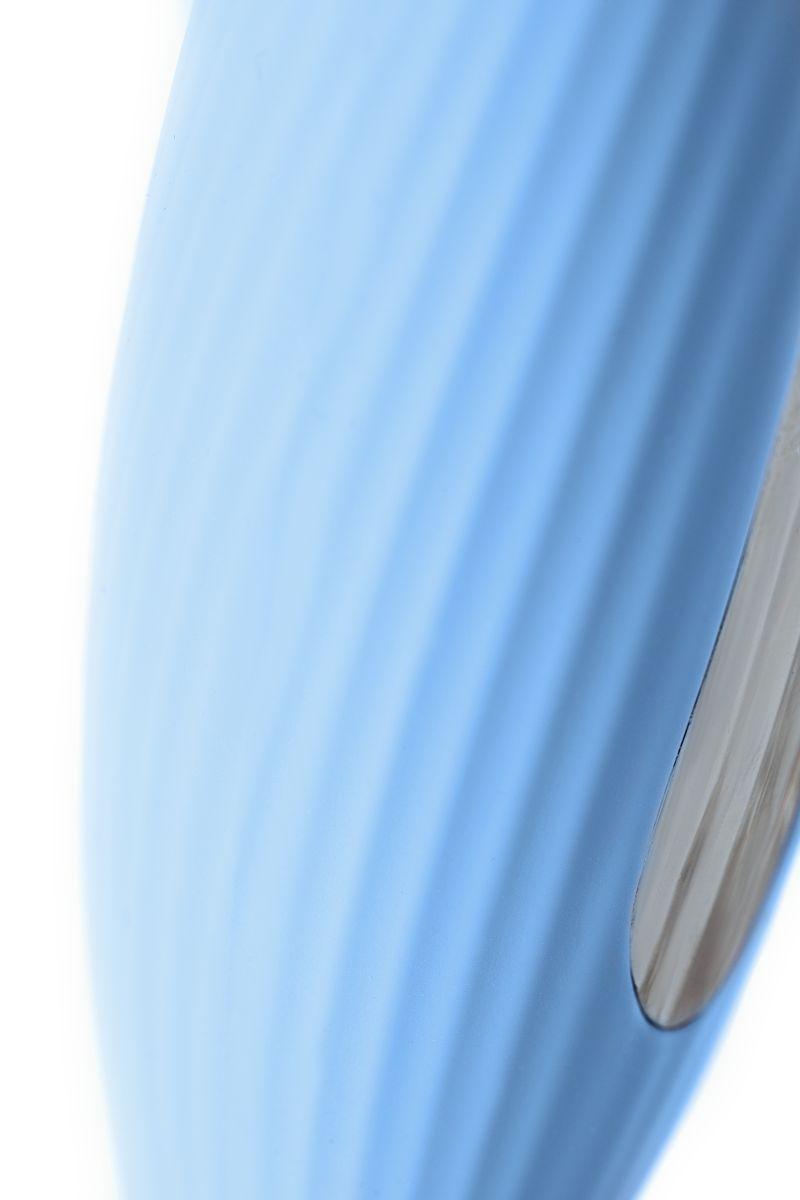 Голубой силиконовый вибратор с электростимуляцией TESLA G-POINT - 21 см.