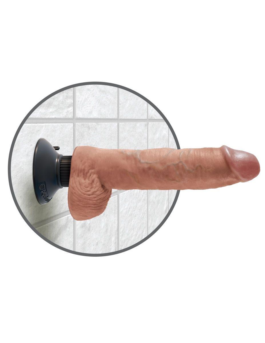 Кофейный вибромассажер 10  Vibrating Cock with Balls - 25,4 см.
