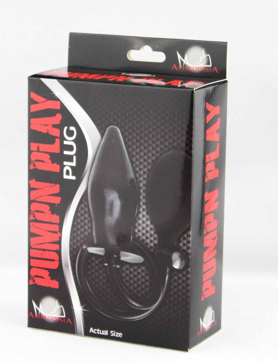 Черный анальный стимулятор с расширением Pumpn Play Plug - 12 см.
