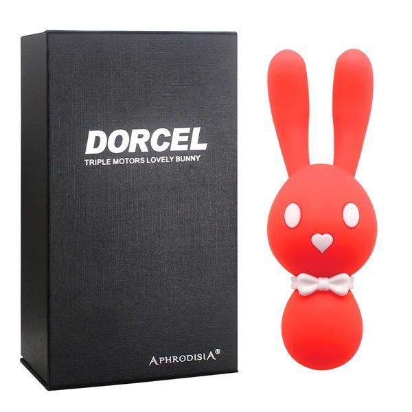 Оранжевый вибростимулятор-зайчик Dorcel - 16 см.