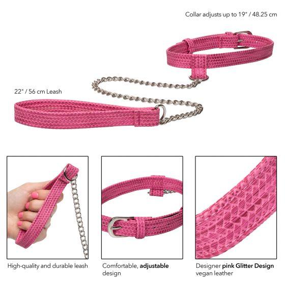 Розовый ошейник с поводком Tickle Me Pink Collar With Leash