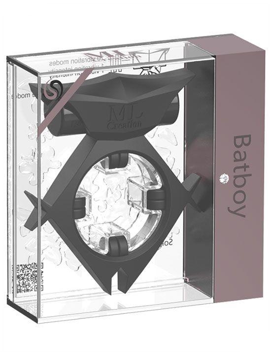 Черное эрекционное виброкольцо Batboy Ring