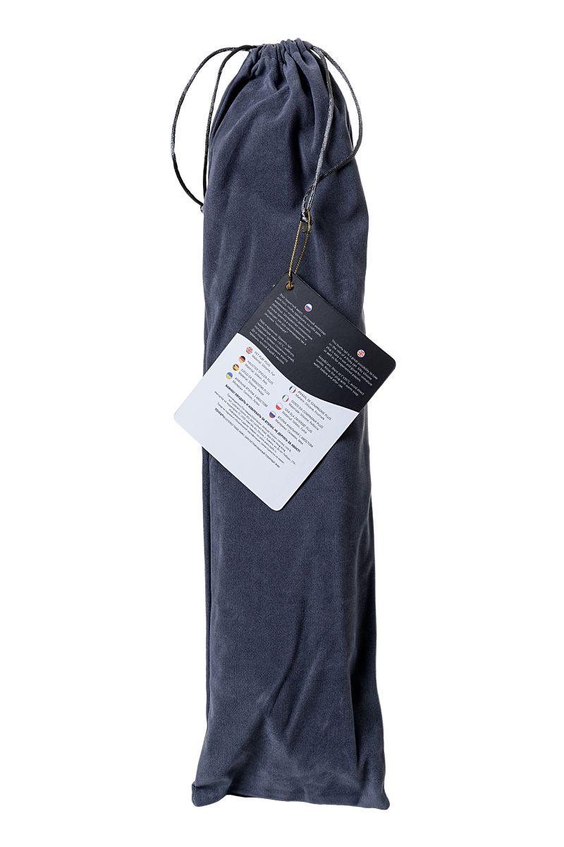 Черная анальная втулка с фиолетово-белым хвостиком - размер M