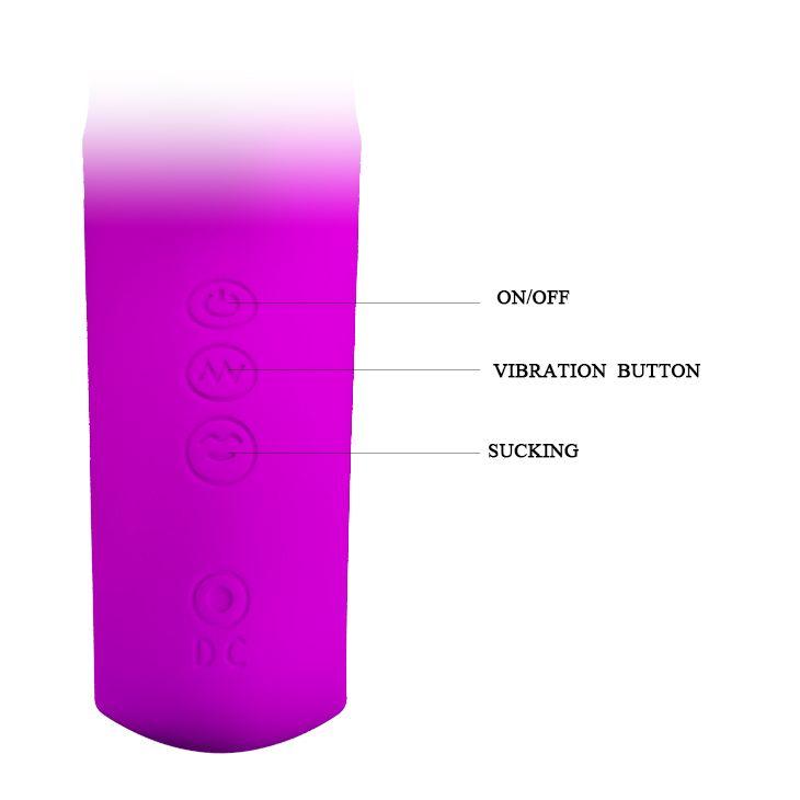 Лиловый вибратор Nicola с вакуумной клиторальной стимуляцией - 24 см.