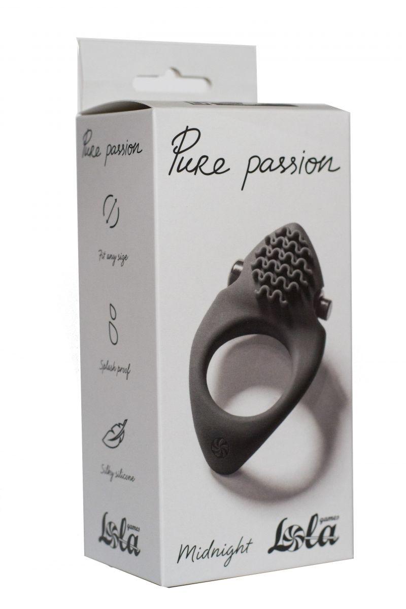 Черное эрекционное виброкольцо Pure Passion Midnight